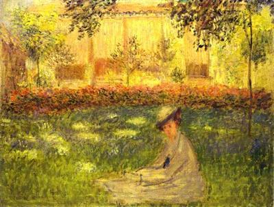 Femme assise dans le jardin claude monet tableaux et for Jardin 19eme siecle