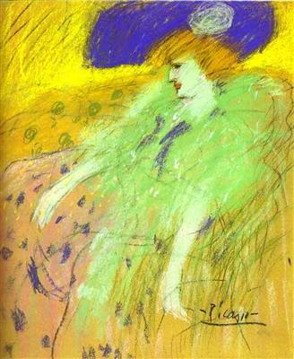 Femme en chapeau bleu - Pablo Picasso - Tableaux et dessins